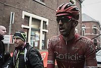 a muddy Dimitri Claeys (BEL/Cofidis) rolling in after finishing<br /> <br /> GP Le Samyn 2017 (1.1)