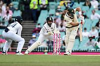 8th January 2021; Sydney Cricket Ground, Sydney, New South Wales, Australia; International Test Cricket, Third Test Day Two, Australia versus India; Marnus Labuschagne of Australia plays a defensive shot
