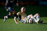 MELBOURNE, AUSTRALIA - DECEMBER 27: Jobe Wheelhouse of the Jets loses the ball during the round 20 A-League match between the Melbourne Victory and the Newcastle Jets at AAMI Park on December 27, 2010 in Melbourne, Australia. (Photo by Sydney Low / Asterisk Images)