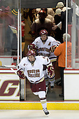 Pat Mullane (BC - 11), Ben Smith (BC - 12) - The Boston College Eagles defeated the Merrimack College Warriors 4-3 on Friday, October 30, 2009, at Conte Forum in Chestnut Hill, Massachusetts.