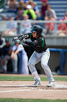Dayton Dragons third baseman Alejo Lopez (4) squares around to bunt during a game against the Beloit Snappers on July 22, 2018 at Pohlman Field in Beloit, Wisconsin.  Dayton defeated Beloit 2-1.  (Mike Janes/Four Seam Images)