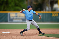 Tampa Bay Rays Ford Proctor (35) throws to first base during a Minor League Spring Training game against the Baltimore Orioles on March 16, 2019 at the Buck O'Neil Baseball Complex in Sarasota, Florida.  (Mike Janes/Four Seam Images)