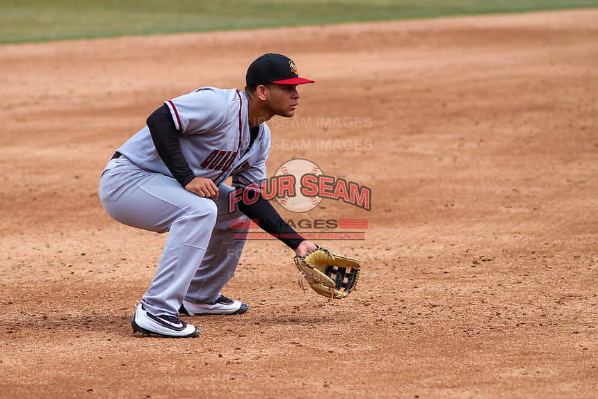 Quad Cities River Bandits third baseman Randy Cesar (30) gets in defensive position during a Midwest League game against the Wisconsin Timber Rattlers on April 9, 2017 at Fox Cities Stadium in Appleton, Wisconsin.  Quad Cities defeated Wisconsin 17-11. (Brad Krause/Four Seam Images)