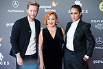 """Pablo Rivero, Carmen Machi and Hiba Abouk attends to red carpet before the projection of film 'The Shape of Water"""" during Sitges Film Festival in Barcelona, Spain October 05, 2017. (ALTERPHOTOS/Borja B.Hojas)"""