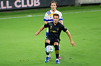 LOS ANGELES, CA - SEPTEMBER 02: Danny Musovski #16 of the LAFC moves with the ball during a game between San Jose Earthquakes and Los Angeles FC at Banc of California stadium on September 02, 2020 in Los Angeles, California.
