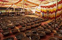 INDIA Madhya Pradesh Neemuch, legal by UNDCP controlled opium farming for Pharmaceutical industry for processing of Morphin drugs, farmer sell their opium yield to the Narcotics Bureau, which process the opium in their factory / INDIEN, legaler durch UNDCP kontrollierter Opium Anbau fuer die Pharmaindustrie zur Gewinnung von Morphin fuer Herstellung von Schmerzmittel, Bauern verkaufen die Opium Ernte an die staatliche Behoerde