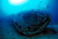 scuba diver on Teti wreck, Vis island, Croatia, Adriatic Sea, Mediterranean, Atlantic