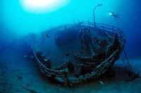 scuba diver on Teti wreck, Vis island, Croatia, Adriatic Sea, Mediterranean, Atlantic