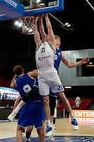 27-03-2021: Basketbal: Donar Groningen v Den Helder Suns: Groningen Donar speler Henry Caruso met Donar speler Sheyi Adetunji