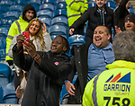 04.03.2020: Rangers v Hamilton: Hamilton scorer David Moyo doing selfies with the away fans at full time