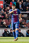 Luis Suarez of FC Barcelona gestures during the La Liga 2017-18 match between FC Barcelona and RC Celta de Vigo at Camp Nou Stadium on 02 December 2017 in Barcelona, Spain. Photo by Vicens Gimenez / Power Sport Images
