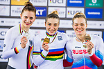 Daria Shmeleva of Russia celebrates winning in the Women's 500 TT Finals' prize ceremony with Miriam Welte (l) of Germany and Anastasiia Voinova (r) of Russia during the 2017 UCI Track Cycling World Championships on 15 April 2017, in Hong Kong Velodrome, Hong Kong, China. Photo by Marcio Rodrigo Machado / Power Sport Images