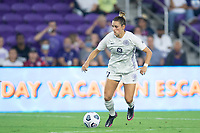 ORLANDO, FL - SEPTEMBER 11: Emily Fox #11 of Racing Louisville FC dribbles the ball during a game between Racing Louisville FC and Orlando Pride at Exploria Stadium on September 11, 2021 in Orlando, Florida.