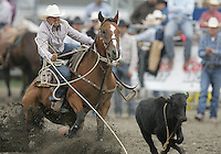 26 Aug 2010:  George Rowland scored a time of  11.0 in the slack Tie Down Roping competition at the Kitsap County Stampede Wrangle Million Dollar PRCA Silver Rodeo Tour Bremerton, Washington.