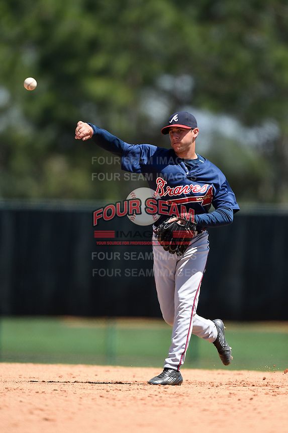 Atlanta Braves infielder Mikey Reynolds (5) during a minor league spring training game against the Washington Nationals on March 26, 2014 at Wide World of Sports in Orlando, Florida.  (Mike Janes/Four Seam Images)