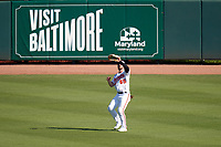 Baltimore Orioles outfielder Ryan McKenna (65) catches a fly ball during a Major League Spring Training game against the Pittsburgh Pirates on February 28, 2021 at Ed Smith Stadium in Sarasota, Florida.  (Mike Janes/Four Seam Images)