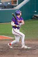 Chad Fairey (11) of the Clemson Tigers bats in a fall Orange-Purple intrasquad scrimmage on Friday, November 13, 2020, at Doug Kingsmore Stadium in Clemson, South Carolina. (Tom Priddy/Four Seam Images)