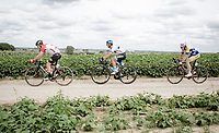Later race winner Mihkel Raïm (EST/Israël Cycling Academy) riding the Plugstreets behind Moreno Hofland (NED/Lotto-Soudal) and ahead of Christophe Noppe (BEL/Sport Vlaanderen - Baloise)<br /> <br /> <br /> 1st Great War Remembrance Race 2018 (UCI Europe Tour Cat. 1.1) <br /> Nieuwpoort > Ieper (BE) 192.7 km