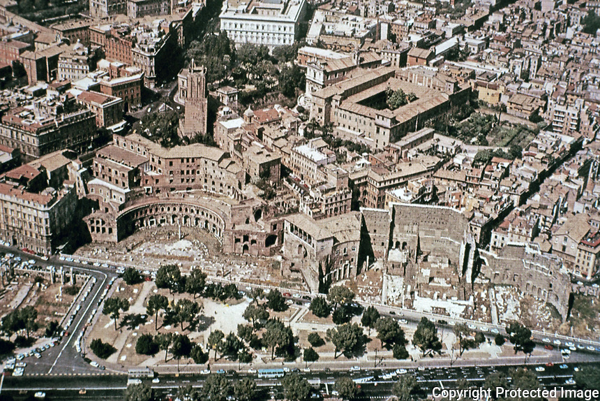 Aerial view of Trajan's Markets, Trajan's Forum, Rome Italy, 100 - 112 BCE