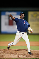 Mobile BayBears relief pitcher Samil De Los Santos (46) delivers a pitch during a game against the Chattanooga Lookouts on May 5, 2018 at Hank Aaron Stadium in Mobile, Alabama.  Chattanooga defeated Mobile 11-5.  (Mike Janes/Four Seam Images)