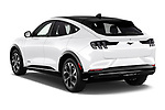 Car pictures of rear three quarter view of 2021 Ford Mustang-Mach-E Premium 5 Door SUV Angular Rear