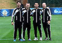 HOOVER, AL - DECEMBER 09, 2012: Officiating crew at the NCAA 2012 Men's College Cup championship, at Regions Park, in Hoover , AL, on Sunday, December 09, 2012. Kevin Anderson, Chris Penso, Chico Grajeda, Bill Dittmar.