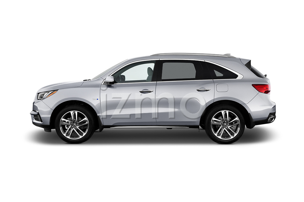 Car driver side profile view of a 2017 Acura MDX Sport Hybrid SH-AWD Advance Package 5 Door SUV