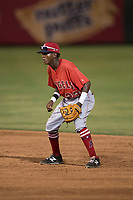 AZL Angels second baseman Daniel Ozoria (23) during an Arizona League game against the AZL Padres 2 at Tempe Diablo Stadium on July 18, 2018 in Tempe, Arizona. The AZL Padres 2 defeated the AZL Angels 8-1. (Zachary Lucy/Four Seam Images)