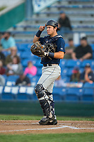 Helena Brewers catcher KJ Harrison (16) on defense against the Great Falls Voyagers at Centene Stadium on August 19, 2017 in Helena, Montana.  The Voyagers defeated the Brewers 8-7.  (Brian Westerholt/Four Seam Images)