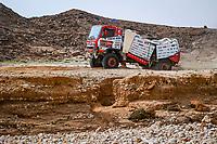 7th January 2021; Riyadh to Buraydah, Saudi Arabia; Dakar Rally, stage 5;  508 Sugawara Teruhito (jpn), Somemiya Hirokazu (jpn), Mochizuki Yuji (jpn), Hino, Hino Team Sugawara, Camion, appears to break in half during the 5th stage of the Dakar 2021 between Riyadh and Buraydah, in Saudi Arabia on January 7, 2021