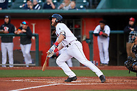 Lansing Lugnuts third baseman Johnny Aiello (4) during a Midwest League game against the Wisconsin Timber Rattlers at Cooley Law School Stadium on May 1, 2019 in Lansing, Michigan. Wisconsin defeated Lansing 2-1 in the second game of a doubleheader. (Zachary Lucy/Four Seam Images)