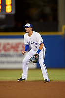Dunedin Blue Jays second baseman Cavan Biggio (4) during a game against the St. Lucie Mets on April 19, 2017 at Florida Auto Exchange Stadium in Dunedin, Florida.  Dunedin defeated St. Lucie 9-1.  (Mike Janes/Four Seam Images)