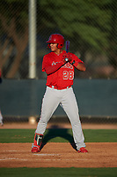 AZL Angels Rainier Rivas (28) at bat during an Arizona League game against the AZL D-backs on July 20, 2019 at Salt River Fields at Talking Stick in Scottsdale, Arizona. The AZL Angels defeated the AZL D-backs 11-4. (Zachary Lucy/Four Seam Images)