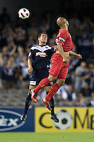 MELBOURNE, AUSTRALIA - OCTOBER 30: Rodrigo Vargas of the Victory heads the ball during the round 12 A-League match between the Melbourne Victory and Adelaide United at Etihad Stadium on October 30, 2010 in Melbourne, Australia.  (Photo by Sydney Low / Asterisk Images)