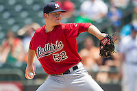 Memphis Redbirds pitcher Zach Petrick #52 delivers a pitch to the plate during the Pacific Coast League baseball game against the Round Rock Express on April 27, 2014 at the Dell Diamond in Round Rock, Texas. The Express defeated the Redbirds 6-2. (Andrew Woolley/Four Seam Images)