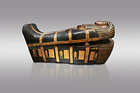 Acient Egyptian sacophagus of Kha - outer coffin from  tomb of Kha, Theban Tomb 8 , mid-18th dynasty (1550 to 1292 BC), Turin Egyptian Museum. Grey background