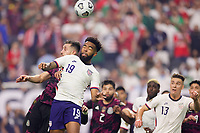 LAS VEGAS, NV - AUGUST 1: Eryk Williamson #19 of the United States goes up for a header during a game between Mexico and USMNT at Allegiant Stadium on August 1, 2021 in Las Vegas, Nevada.