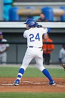 Emmanuel Rivera (24) of the Burlington Royals at bat against the Kingsport Mets at Burlington Athletic Stadium on July 18, 2016 in Burlington, North Carolina.  The Royals defeated the Mets 8-2.  (Brian Westerholt/Four Seam Images)