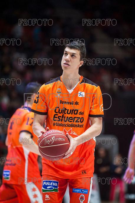 VALENCIA, SPAIN - OCTOBER 31: Lucic during ENDESA LEAGUE match between Valencia Basket Club and Rio Natura Monbus Obradoiro at Fonteta Stadium on   October 31, 2015 in Valencia, Spain