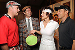 """From left: Pepper Paratore, Michael Landrum, Sharon Engelstein and Aaron Parazette at the """"Be the Ball"""" annual benefit holiday bash supporting Glasstire and Fresh Arts Coalition at the Herman Park Golf Course Friday Jan. 22,2010.(Dave Rossman/For the Chronicle)"""