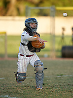 Braden River Pirates catcher Brady Jernigan (4) throws to first base during a game against the Venice Indians on February 25, 2021 at Braden River High School in Bradenton, Florida. (Mike Janes/Four Seam Images)