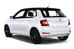 Car pictures of rear three quarter view of a 2019 Skoda Fabia Ambition 5 Door Hatchback angular rear