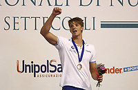 Swimming 55° Settecolli trophy Foro Italico, Rome on June 30, June 2018.<br /> Swimmer Alessandro Miressi, of Italy, celebrates with the gold medal after winning the men's 100 meters Freestyle at the Settecolli swimming trophy in Rome, on June 30, 2018.<br /> UPDATE IMAGES PRESS/Isabella Bonotto