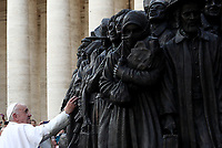"""Pope Francis attends the unveiling of a sculpture called """"Angels Unaware"""" by Canadian sculptor Timothy P. Schmalz, depicting a group of 140 migrants of various cultures and from different historic times, following a mass for World Day of Migrants and Refugees at St. Peter's Square at the Vatican on September 29, 2019 <br /> UPDATE IMAGES PRESS/Isabella Bonotto<br /> <br /> STRICTLY ONLY FOR EDITORIAL USE"""