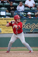 Jesse Wilkening (8) of the Nebraska Cornhuskers bats against the Long Beach State Dirtbags in the first game of a doubleheader at Blair Field on March 5, 2016 in Long Beach, California. Long Beach State defeated Nebraska, 1-0. (Larry Goren/Four Seam Images)