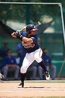 GCL Braves catcher William Contreras (20) at bat during a game against the GCL Blue Jays on August 5, 2016 at ESPN Wide World of Sports in Orlando, Florida.  GCL Braves defeated the GCL Blue Jays 9-0.  (Mike Janes/Four Seam Images)