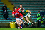 William Shine, Kerry in action against Sean Brady, Cork during the Munster Minor Semi-Final between Kerry and Cork in Austin Stack Park on Tuesday evening.
