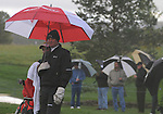 3 October 2008: Brad Elder waits for play to start after one of the two hour-long weather delays during the second round at the Turning Stone Golf Championship in Verona, New York.