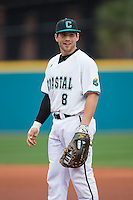 Coastal Carolina Chanticleers first baseman Tyler Chadwick (8) on defense against the Bryant Bulldogs at Springs Brooks Stadium on March 13, 2015 in Charlotte, North Carolina.  The Chanticleers defeated the Bulldogs 7-2.  (Brian Westerholt/Four Seam Images)