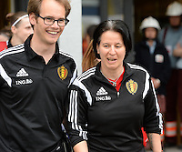 20150523 - SINT-TRUIDEN ,  BELGIUM : Belgian Sven Cnudde (left) and Belgian assistant coach Tamara Cassimon (right) pictured during the friendly soccer game between the Belgian Red Flames and Norway, a preparation game for Norway for the Women's 2015 World Cup, Saturday 23 May 2015 at Staaien in Sint-Truiden , Belgium. PHOTO DAVID CATRY
